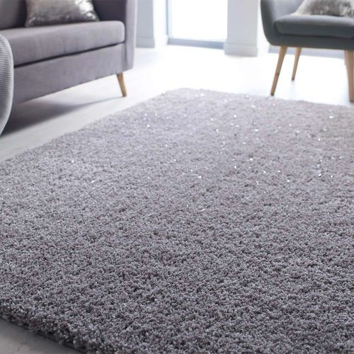 Veloce Silver Shaggy Rug