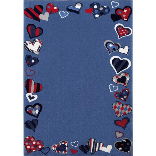 WECON Home Just Hearts Blue Rug