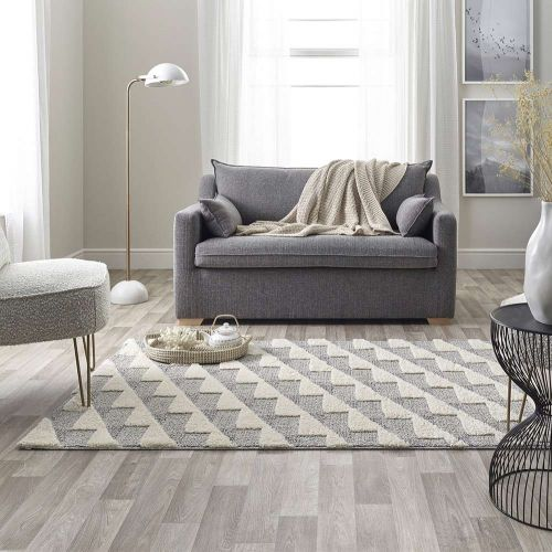 White Grey 3D Rug Mason Geometric 7730A