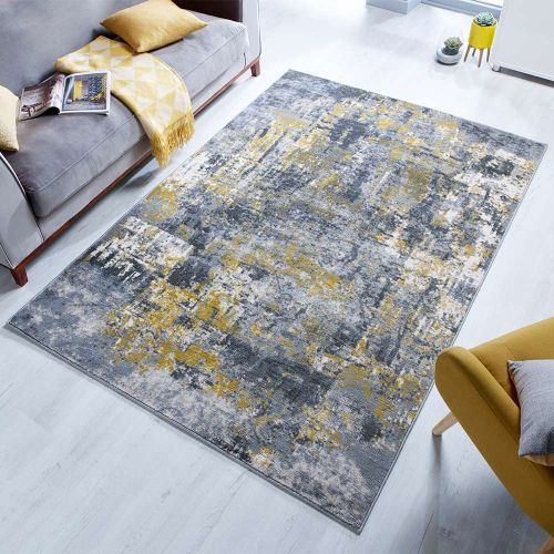 Abstract Wonderlust Grey Ochre Rug