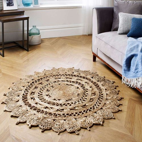 Zarla Natural Weaved Patterned Rug