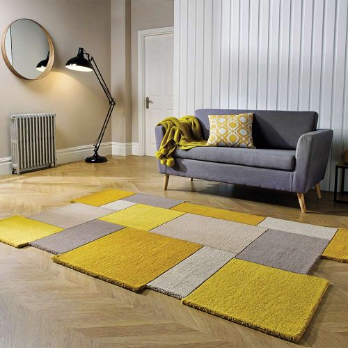 Abstract Collage Wool Rug Ochre Natural