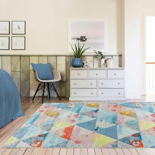 Amelie AM03 Triangles Abstract Multi Coloured Rug