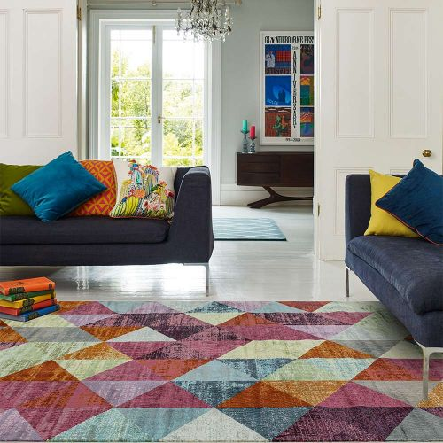 Amelie AM08 Harlequin Abstract Multi Coloured Rug