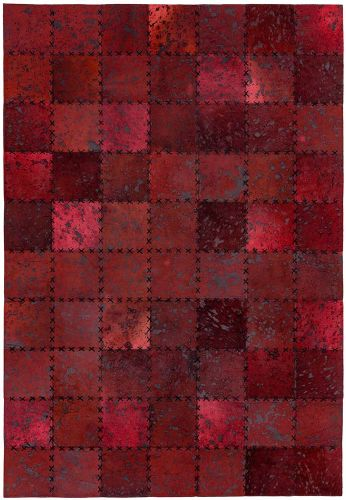 Xylo Hand Sewn Cowhide Red Cross Stitch Rug
