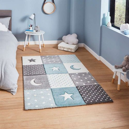 Brooklyn 20340 Childrens Moons and Stars Blue and Grey Rug