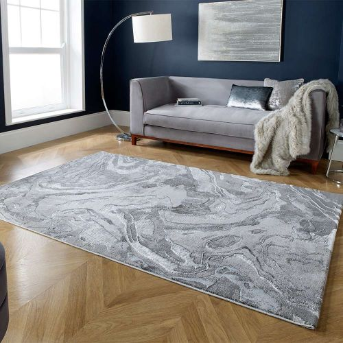 Eris Marbled Abstract Rug Silver