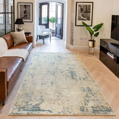 Essence ESSC04 Gold Teal Rug by Concept Looms