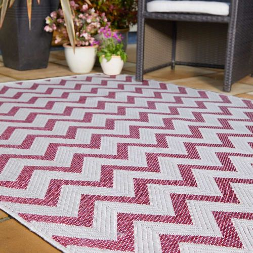 Trieste Traditional Patterned Pink Outdoor Rug