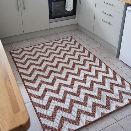 Trieste Traditional Patterned Terracotta Outdoor Rug