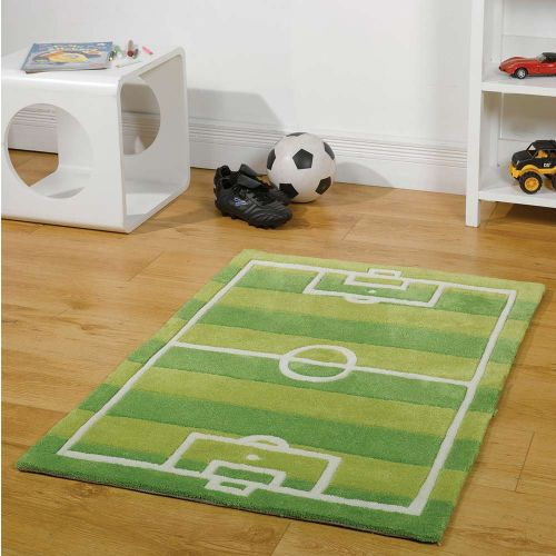 Childrens Green Football Pitch Rug