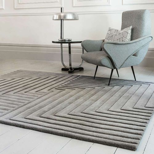 Form Rug Silver Colour 3D Wool Pile