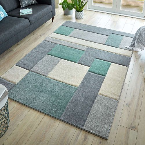 Hand Carved Cosmos Squares Rug Mint Grey Cream