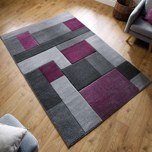 Hand Carved Cosmos Squares Rug Purple Grey