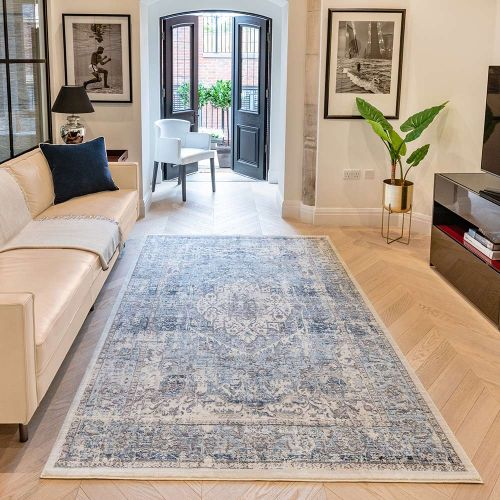 Heritage HRTG106 Ivory Grey Blue Rug by Concept Looms