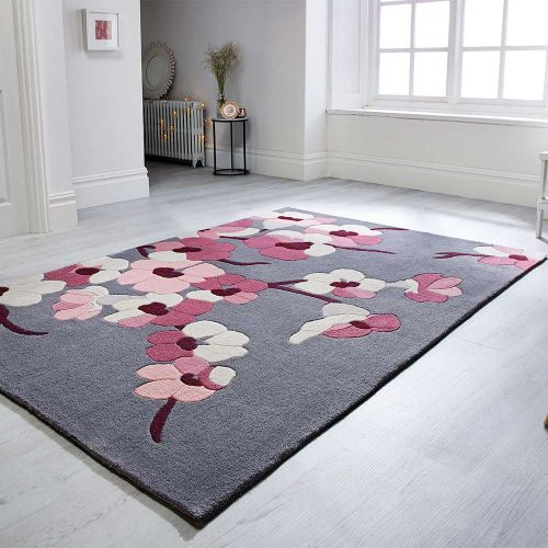 Infinite Blossom Floral Rug Charcoal Pink