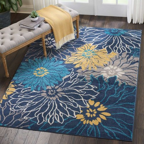 On Sale Floral Passion PSN17 Blue Yellow Rug 114x175cm