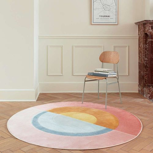 Round Rugs Contemporary Pink City AK200