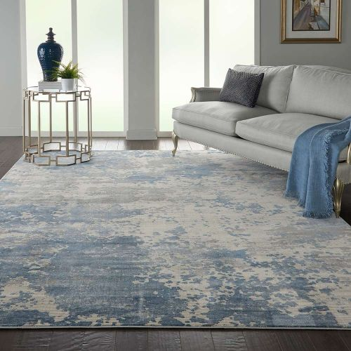 Abstract Rustic Textures RUS08 Grey Blue Rug
