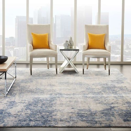 Abstract Silky Textures SLY01 Ivory Blue Rug