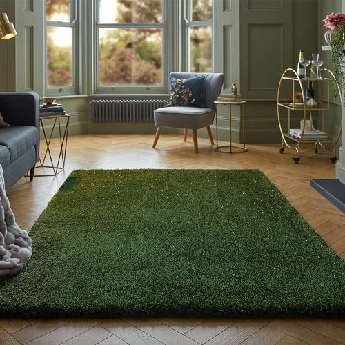 Veloce Thick Shaggy Rug Green