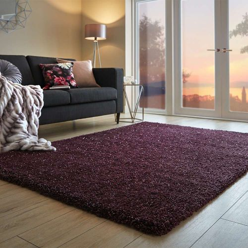 Veloce Thick Shaggy Rug Purple