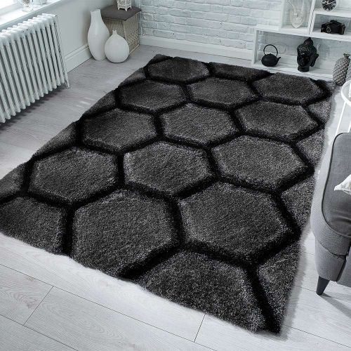 Verge Honeycomb Shaggy Patterned Rug Charcoal