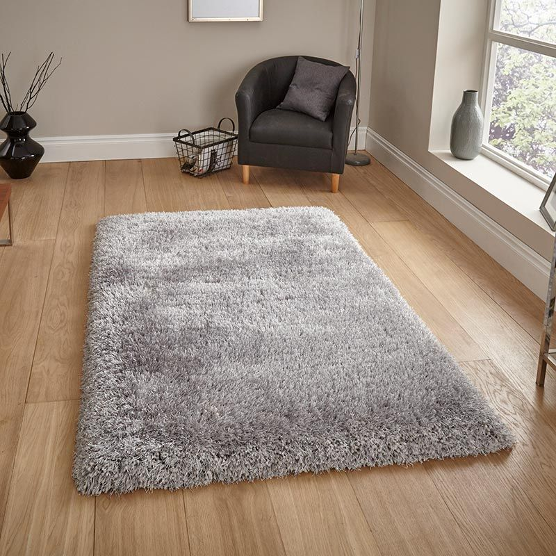 Rug Silver Thick Glossy Shag Pile