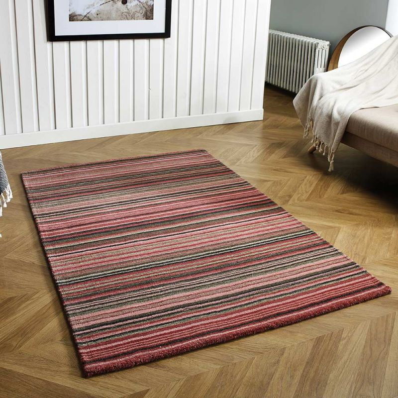 Carter Pink Striped Wool Rug Land Of Rugs