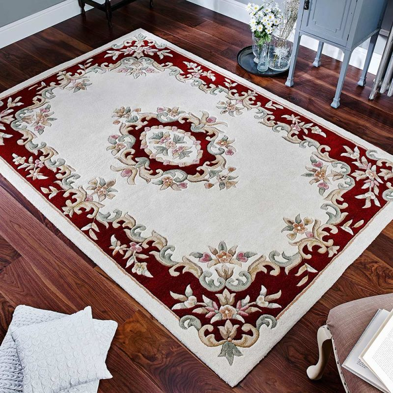 Royal Aubusson Rug Cream Red In Wool
