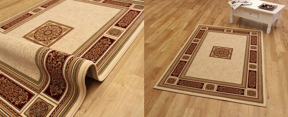 Traditionaly inspired rug made from enhanced polypropylene on a lounge floor