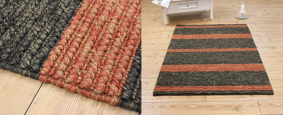 striped jute rug on the floor