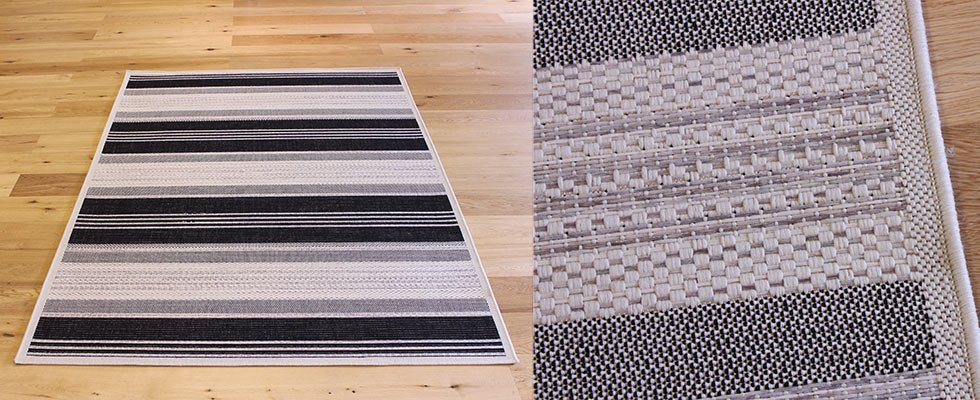 thin pile flatweave rug which reduces trips because of the thin pile