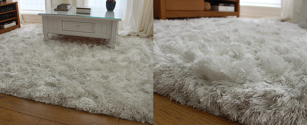 silky pile luxury rug under a coffee table