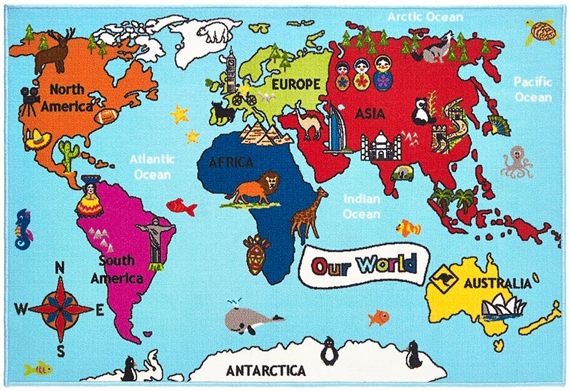Buy kids world map rug fun for children land of rugs gumiabroncs Image collections