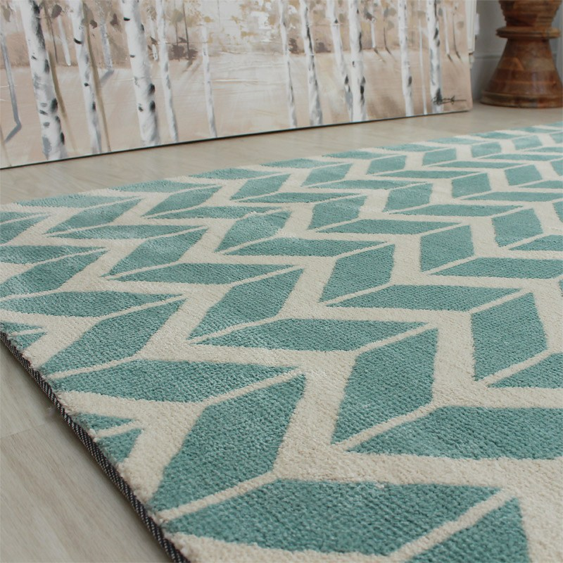 Well known Buy Arlo Chevron Rug Blue Cream colours | Land of Rugs IL05