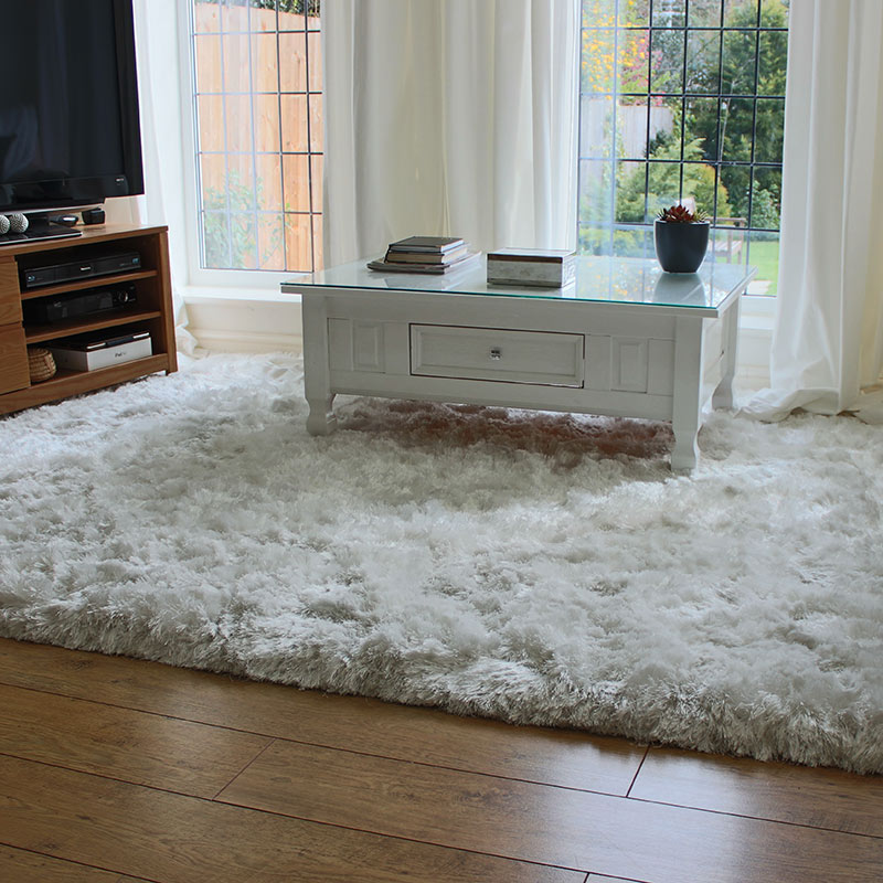 Buy plush rug white ultra thick shaggy glossy land of rugs for Thick area rugs sale