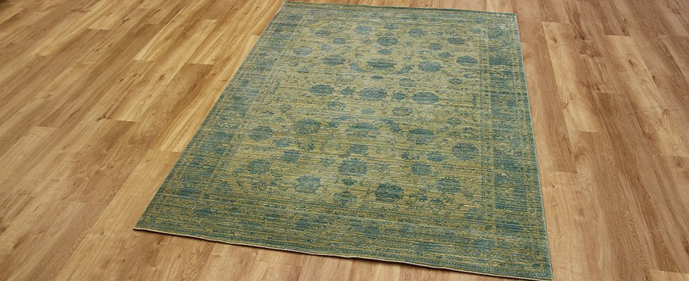 yellow blue silky thin rug