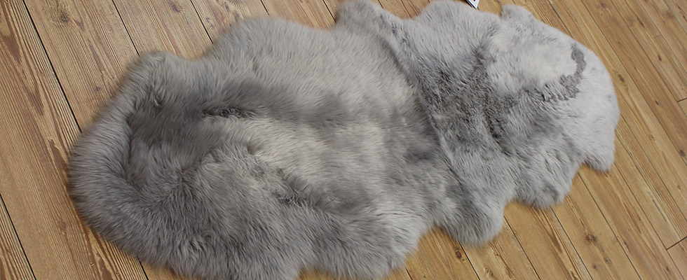 silver stitched double sheepskin floor rug