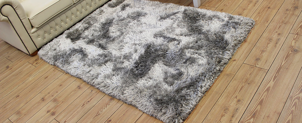 thick silver plush floor rug