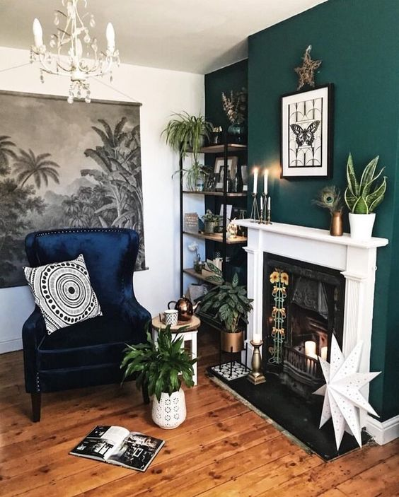 Dark green feature wall in living room