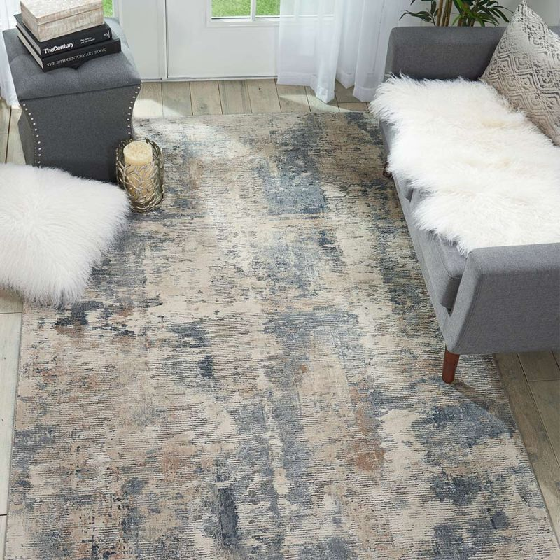 rustic textures grey rug placed in scandi inspired living room