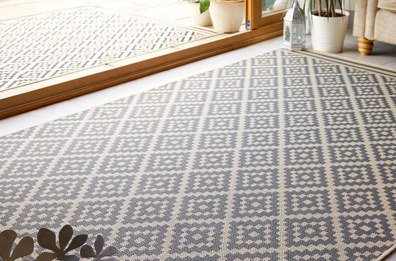 Moretti Beige Anthracite Patterned Outdoor Rug
