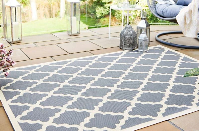 Pauda Beige Anthracite Traditional Patterned Outdoor Rug