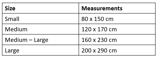 Outdoor Rug Sizes Measurements