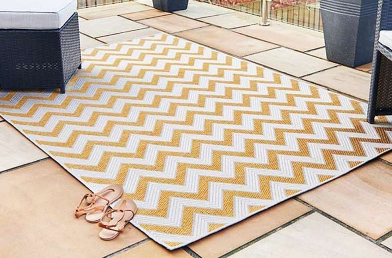 Trieste Traditional Patterned Yellow Outdoor Rug