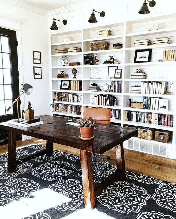 Patterned rug for home office