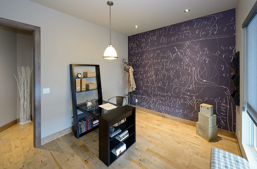 home office with chalkboard paint on the back wall