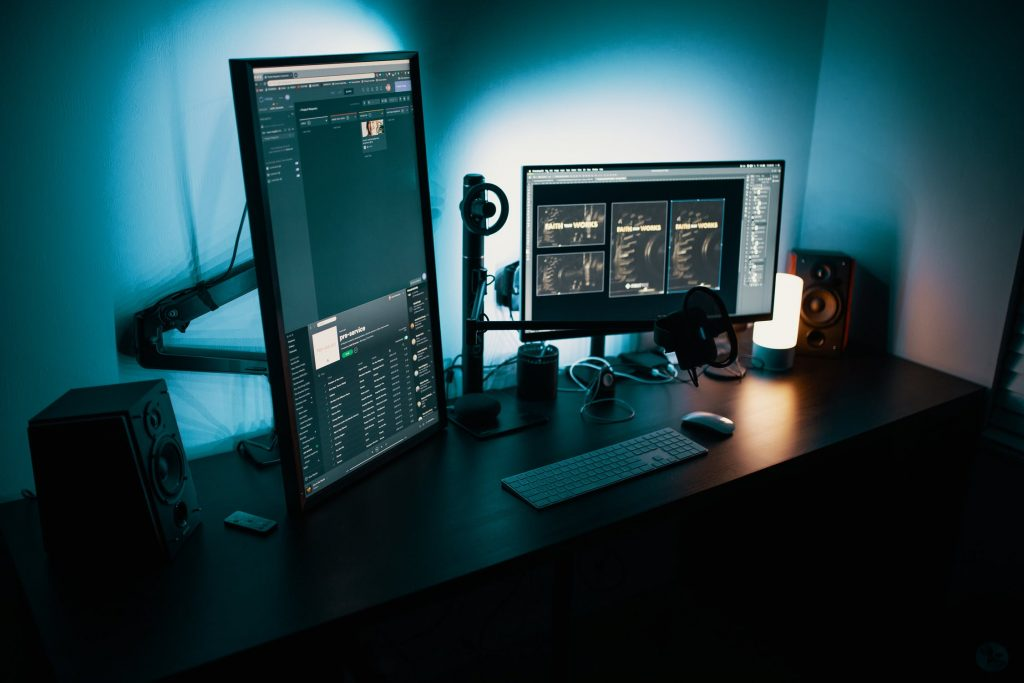 home office with blue led lighting in the background