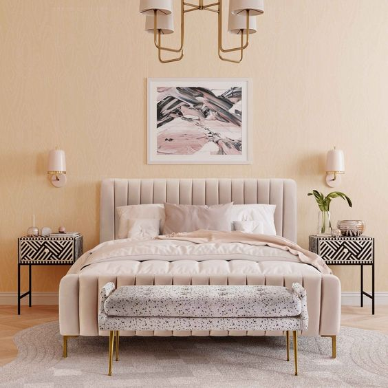 sand coloured bedroom with double bed, headboard and two bedside tables with a funky pattern